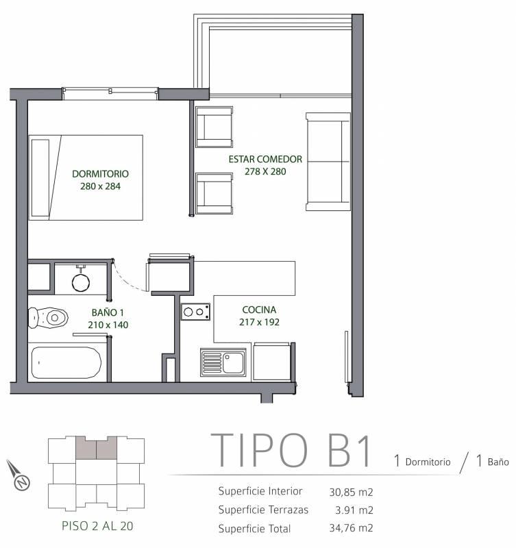 DPTO NUEVO 1D + 1B + EST. - TIPO B1 - BERLIN 927 SAN MIGUEL