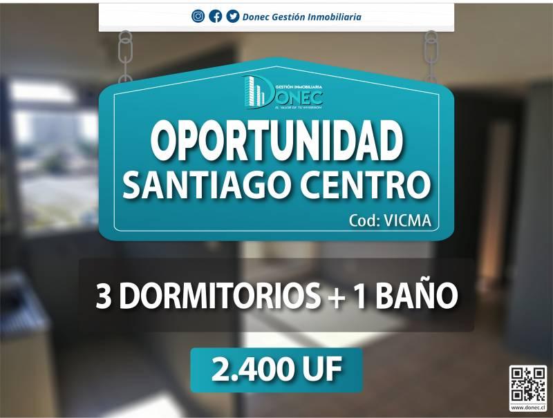 OPORTUNIDAD VENTA DPTO. 3D+1B SANTIAGO CENTRO