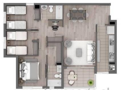 Departamento 80 m2  ubicado en Condominio Santa Ana