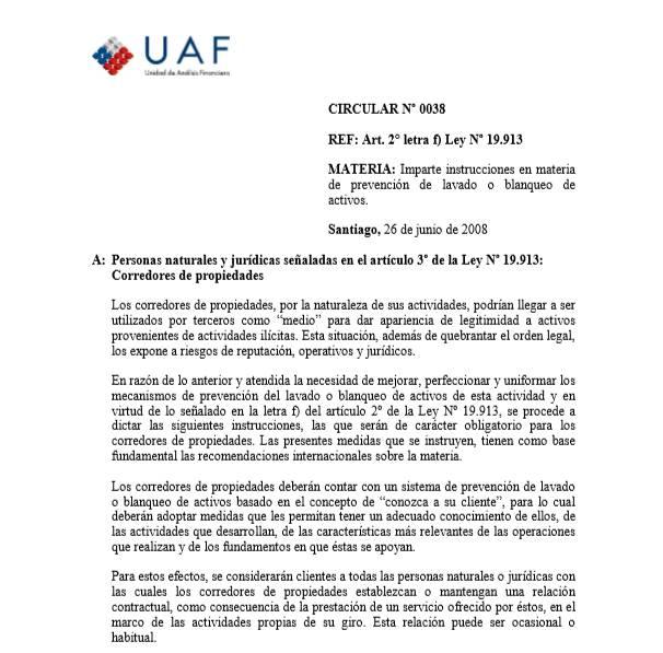 PREVENCIÓN DE BLANQUEO DE ACTIVOS Y LAVADO DE DINERO EN MATERIA INMOBILIARIA