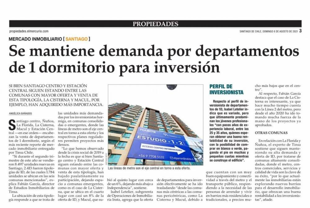 Se mantiene demanda por departamentos de 1 dormitorio para inversión